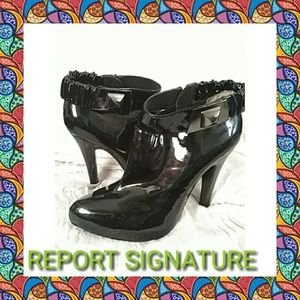 REPORT SIGNATURE BLACK PATENT LEATHER BOOTIES